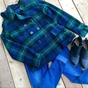 Navy and Emerald Pea Coat